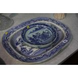 Blue and white meat plate and plate warmer