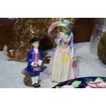 2 Royal Doulton figures 'Miss Demure' and a boy fr