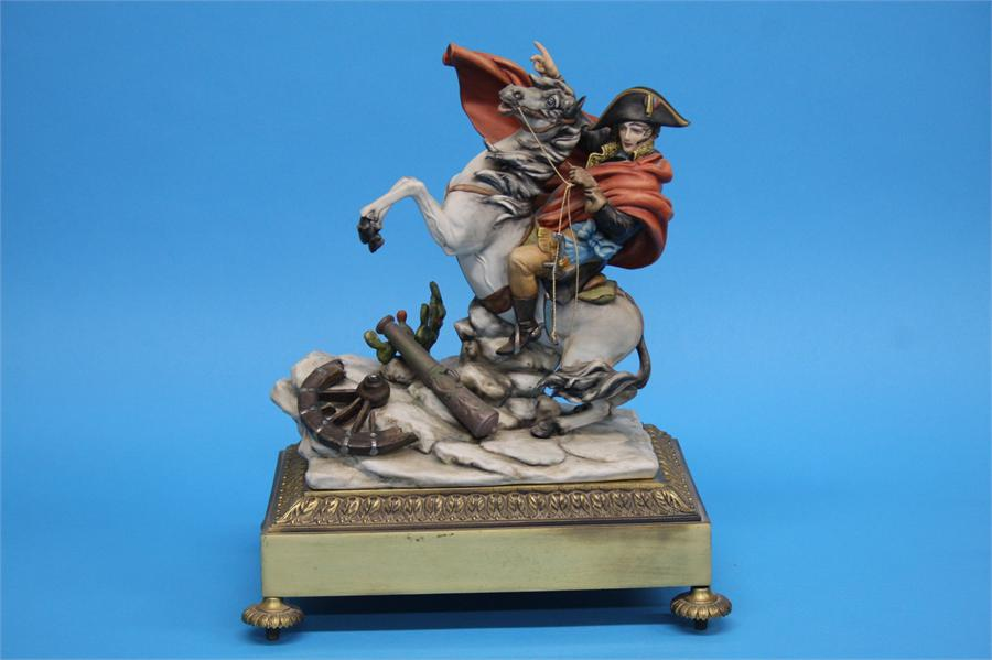 A Capodimonte group of Napoleon on a rearing horse