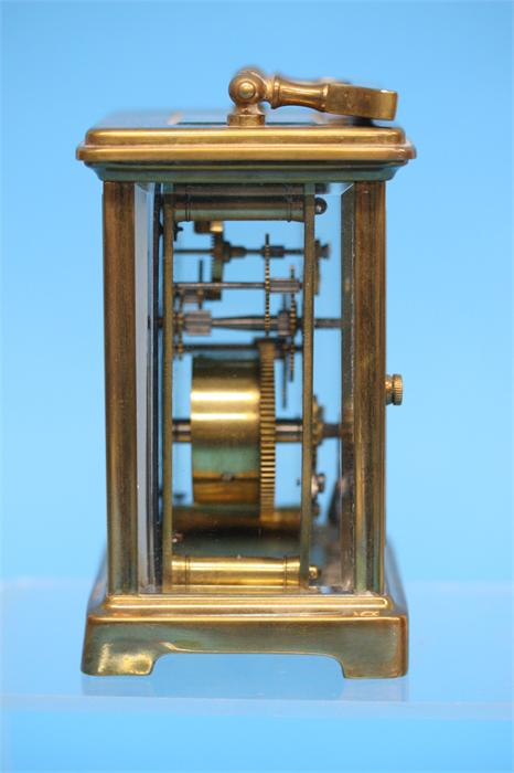 A small brass carriage clock with enamelled dial, - Image 2 of 3