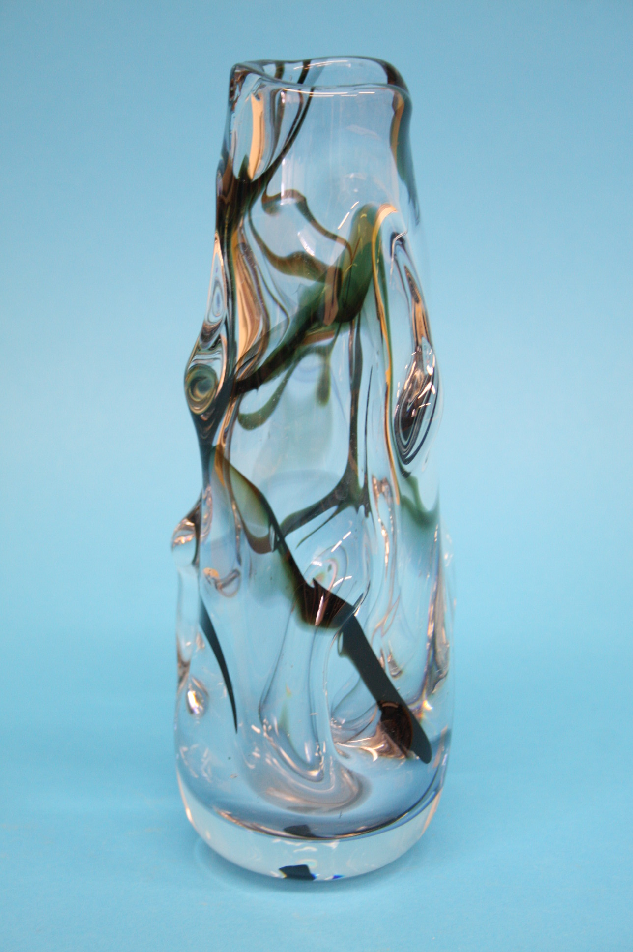 A Whitefriars clear glass tapering vase with black