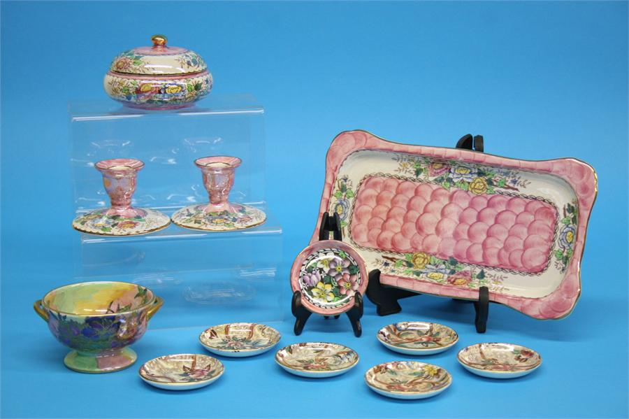 A Maling 'Peony Rose' dressing table set, a two ha