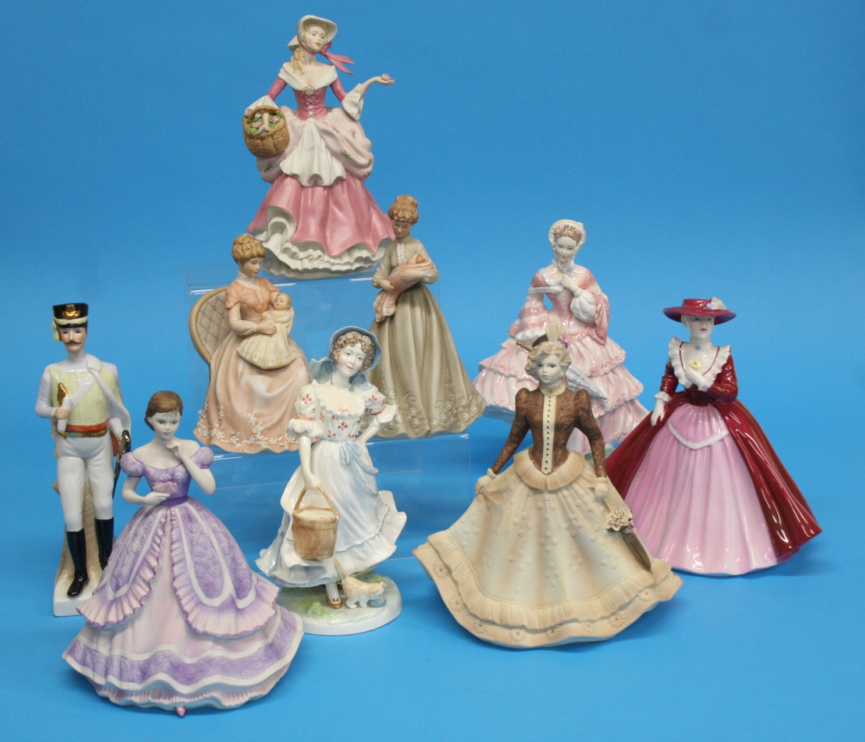 Two Royal Worcester figures, 3 Coalport figures an