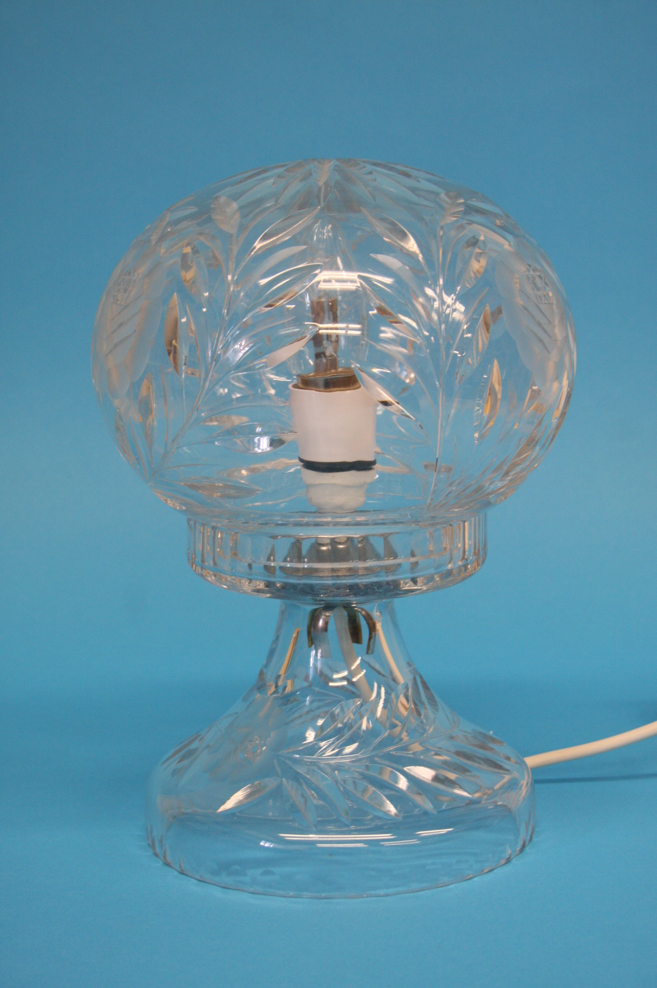 A cut glass table lamp