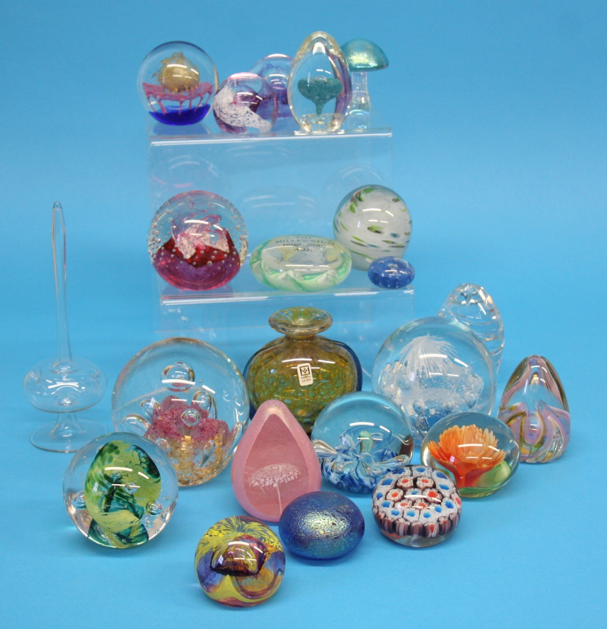 A box of Mdina glass and a collection of various p