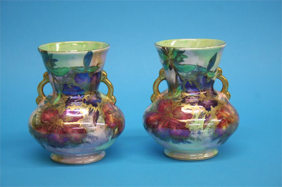 A pair of Maling 'Azalea' pattern vases, numbered - Image 3 of 3