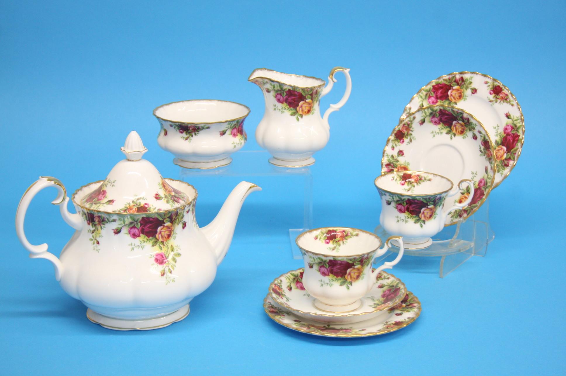 A Royal Albert Country Rose tea set