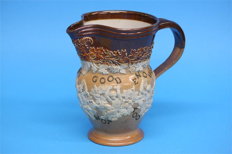 A Royal Doulton stoneware Bacchus jug 'Good is not - Image 2 of 4