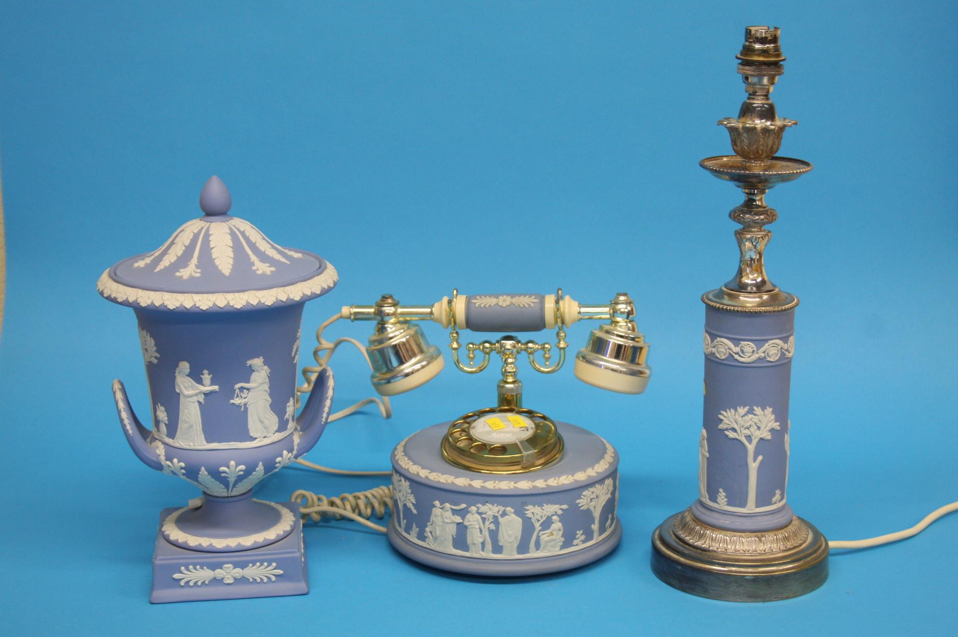 A Wedgwood blue jasperware Campagna shaped vase an