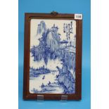 A set of 4 Oriental blue and white ceramic plaques