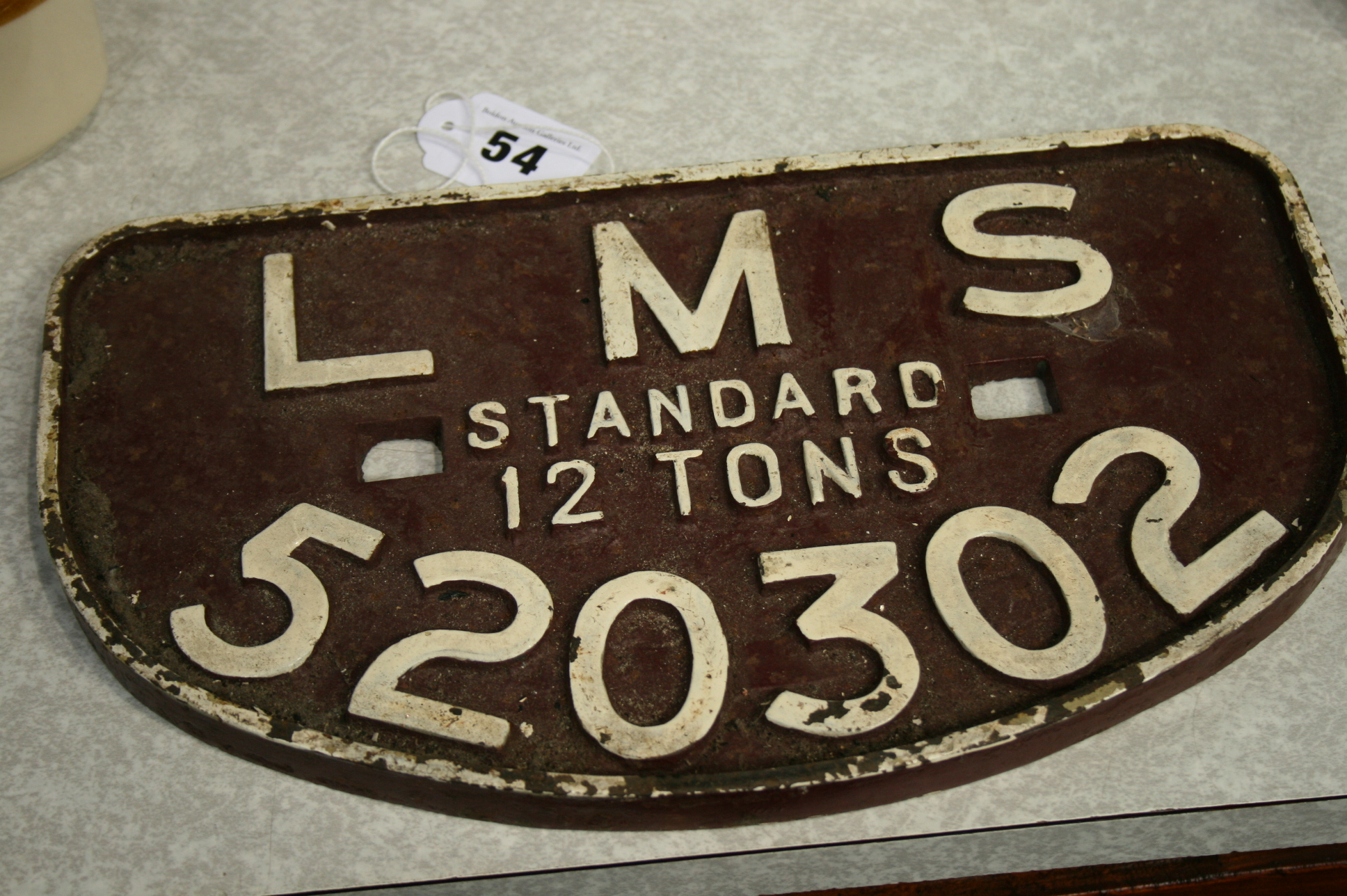 Lot 54 - A 1930's LMS Railway plate