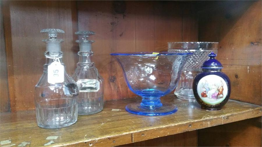 Lot 35 - Two glass decanters etc.