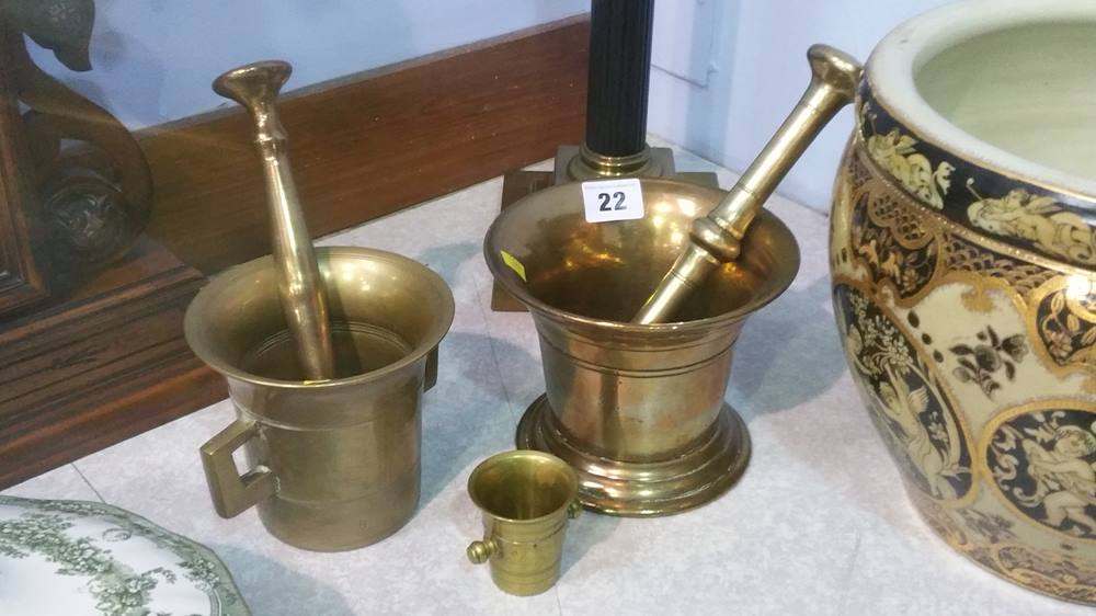 Lot 22 - 2 brass pestle and mortars etc.