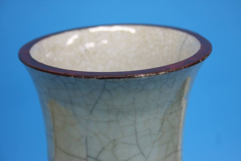 Lot 23 - A large GE type Celadon vase of baluster shape, Qi