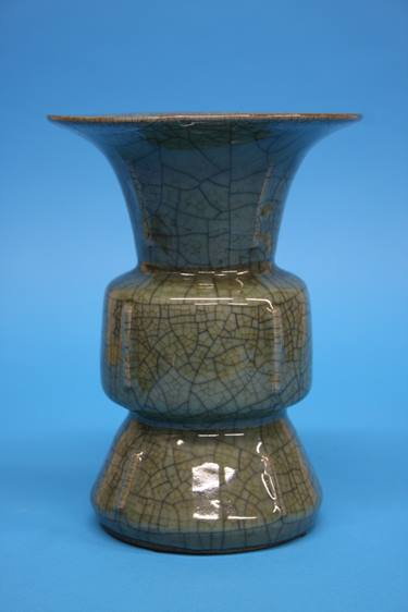 Lot 22 - A 20th century Celadon GE type archaic GU vase, seal marks to base, 20cm height
