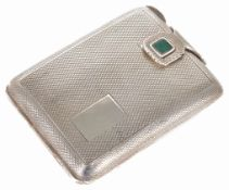 An Art Deco small silver match/card case with green hardstone clasp detail width 6.2cm,