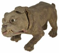 A bulldog automaton the papier-mâché dog realistically modelled, with glass eyes and jaw dropping