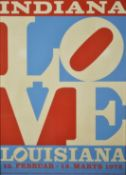 An Indiana Louisiana 1978 LOVE poster by Robert Indiana, framed and glazed. 84 x 61 cm. Condition: