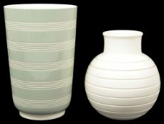A Keith Murray for Wedgwood green and white ribbed vase of tapered cylindrical form, with green