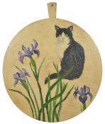 A Bloomsbury cat cheese board painted by Diane Simpson 1995, large circular wooden cheese board with