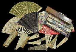 A collection of 19th Century fans comprising of six in original boxes, one red fan with Matador
