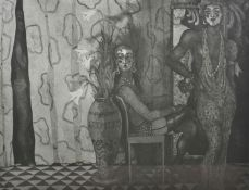 June Carey RSW (20th Century) Scottish From behind the curtain, a black and white engraving of