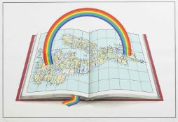 Patrick Hughes (born 1939) British Under the weather, a signed print of a rainbow and atlas,