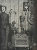 June Carey RSW (20th century) Scottish Threatening presence, a black and white print of dolls and