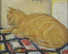 Mary Hamilton-Mack (b.1903) British, A study of a seated cat signed and dated 1962. 28.5 x 36 cm.