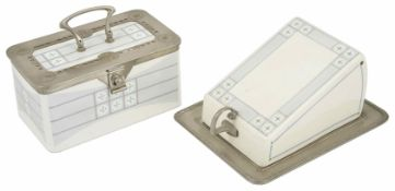 A WMF ceramic and pewter biscuit box with matching cheese dish the box of rectangular form with