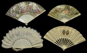 A collection of four fans including a painted feather fan with bone guard sticks decorated with