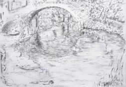 Sarah Medway (20th century) British Bridge, a pencil sketch of trees and a bridge, signed and