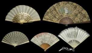 A collection of five fans including an early 19th century fan decorated with sequins, a Japanese