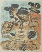Wendy McMurdo (20th century) Devil Man, an abstract colour print portrait of a man, signed, titled