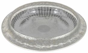 A René Lalique clear frosted glass circular shallow bowl Marguerite pattern 1930s, stencil mark