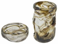 A large Whitefriars nobbled glass vase clear with brown streaking together with a similar bowl