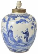 A 19th century Chinese blue and white decorated ginger jar painted in the Kang Xi style with figures