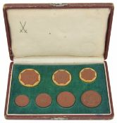 A Saxony set of ceramic emergency money by Meissen, circa 1921, each of circular form with