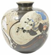 An unusual Japanese earthenware vase of globular form decorated with Art Noveau style, with shaped