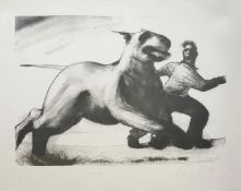 Ray Richardson (born 1964) British Get to Grips, a lithograph of a running man and dog, signed and