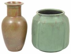 A large green Upchurch pottery vase of shouldered square form with moulded lugs in green glaze,