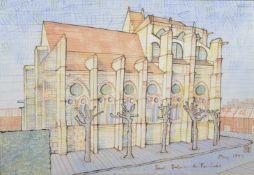 Christopher de Lotbinière (born 1957) British Saint Sulpice de Favieres, ink and watercolour sketch,