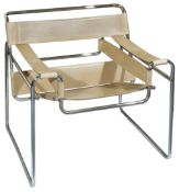Marcel Breuer a Wasily designed chair with tubular chrome frame and light beige stitched leather