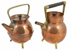 Two copper and brass kettles in the manner of Christopher Dresser both of angular form with brass