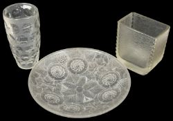 A 1930's Art Deco frosted glass shallow bowl moulded with stylised flowers and leaves together