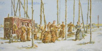 Joseph Davie (20th century) Watercolour of figures merrymaking in the snow. Signed, framed. Together