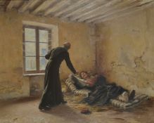'The wounded Soldier', oil on canvas of a padre tending a wounded soldier, initialled lower right