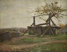 Continental School Two landscapes, unsigned the first depicting a French stone walled farm house