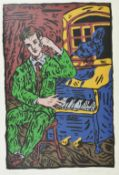 Adrian Wiszniewski The Raven, a coloured print of a man seated at a piano with a raven, signed and