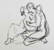 Duncan Grant (1885-1978) British A print of a nude couple embracing. Framed and glazed. 50 x 53 cm.